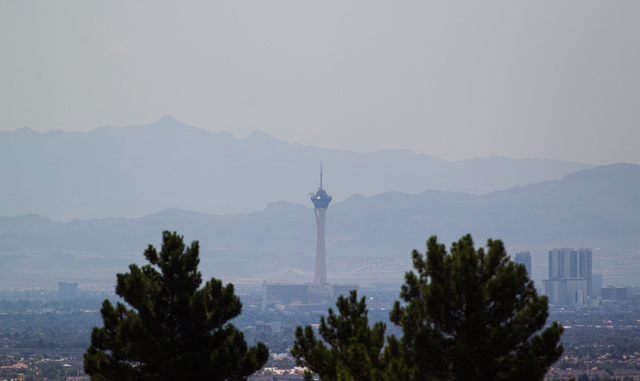 The Stratosphere hotel-casino is seen as temperatures rise to a forecasted high of 109 degrees on Monday, June 29, 2015. Scattered showers are in the forecast, brought on by a 20% chance of thunde ...