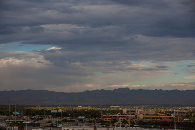 Clouds hover over the Las Vegas Valley as temperatures rise to a forecasted high of 109 degrees on Monday, June 29, 2015. (Chase Stevens/Las Vegas Review-Journal) Follow Chase Stevens on Twitter @ ...