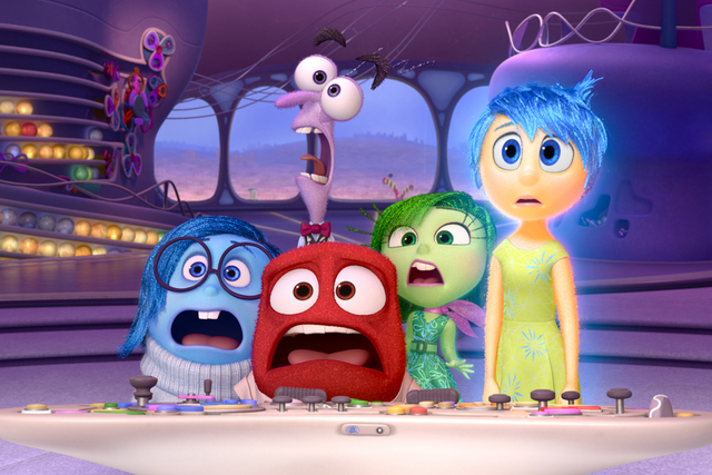 """Disney Pixar's """"Inside Out"""" opens in theaters June 19, 2015. Pictured (L-R): Sadness, Fear, Anger, Disgust, Joy. (Courtesy Disney Pixar)"""