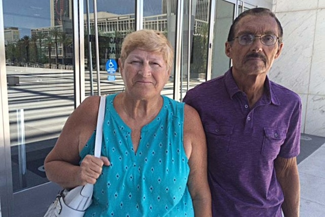 Wanda Murray, left, an early whistleblower in the scheme to take over and defraud the Vistana homeowners association, leaves the Lloyd George Federal Courthouse Monday, June 15, 2015 with her husb ...