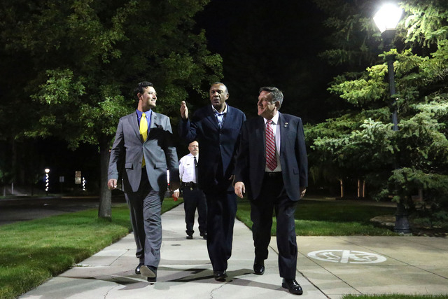 Nevada Assemblymen, from left, Stephen Silberkraus, Harvey Munford and PK O'Neill walk back from the Capitol after telling Gov. Brian Sandoval they concluded their business following the end of th ...