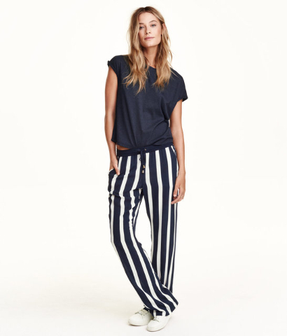 wide-leg striped pants.