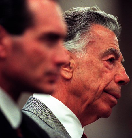 Alex Yemenijian, left, Director at MGM Grand, Inc., and Kirk Kerkorian, MGM Grand's largest shareholder, listen at the Gaming Commission hearing at the Sawyer building on Tuesday, May 30, 2000.  N ...