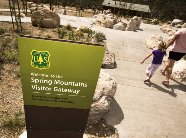 A woman and a girl walk at the  Spring Mountain Visitor Gateway, 2750 Kyle Canyon Road in Mount Charleston, on Thursday, July 9,2015. The 128-acre $50 million complex  recently opened. Follow Jeff ...