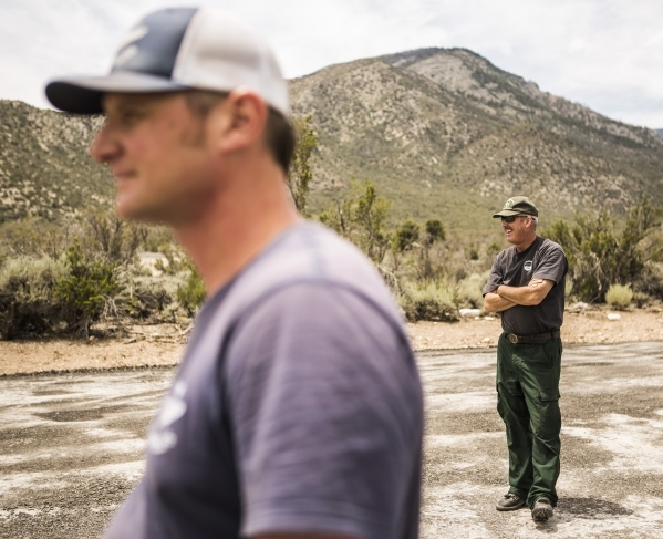Dan Crowell with the Salmon Heli-rappellers and Ray Johnson, with the Forest Service, stand near the helipad at the Kyle Canyon Fire Station  near the Spring Mountain Visitor Gateway  on Thursday, ...