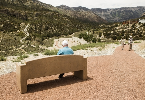 Mike Anderson sits at the Spring Mountain Visitor Gateway, 2750 Kyle Canyon Road in Mount Charleston, on Thursday, July 9,2015. Two years ago the Carpenter 1 fire burned a large swath of land in M ...
