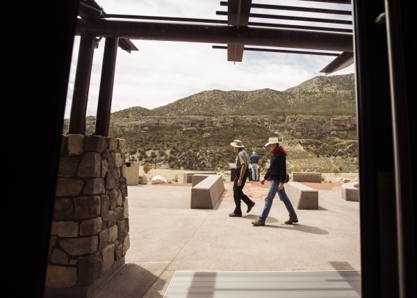 Men walk at the Spring Mountain Visitor Gateway, 2750 Kyle Canyon Road in Mount Charleston, on Thursday, July 9,2015. The 128-acre $50 million complex  recently opened. Follow Jeff Scheid on Twitter
