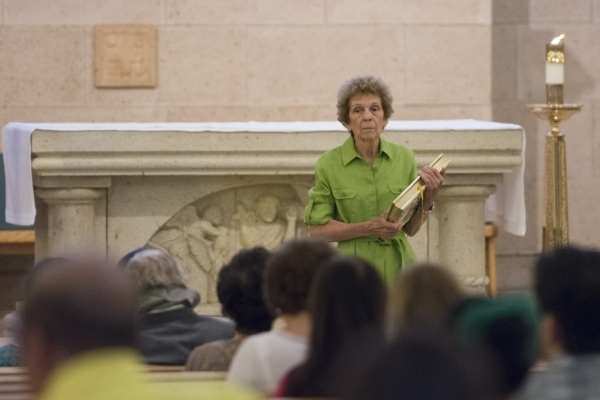 Among the volunteer activities Carolyn Leontos does at St. Joseph, Husband of Mary Catholic Church is Bible readings during Mass. (Jason Ogulnik/Las Vegas Review-Journal)