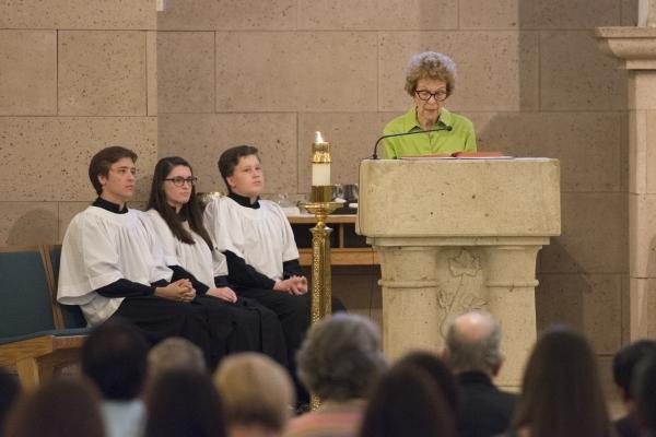 Carolyn Leontos reads a Bible passage during Mass at St. Joseph, Husband of Mary Roman Catholic Church. (Jason Ogulnik/Las Vegas Review-Journal)