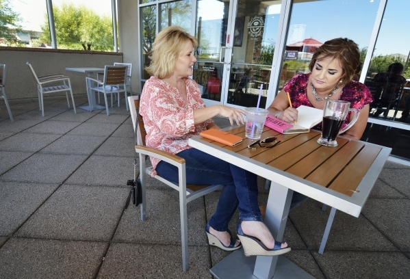 Marketing consultant Ruth Furman, right, and Lisa Ferrell of JessTalk meet Thursday morning at Coffee Bean & Tea Leaf, at 3645 S. Town Center Drive, in Summerlin. Furman, who lives in Summerli ...