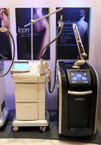 Laser systems are on display at the Cynosure booth. (Ronda Churchill/Las Vegas Review-Journal)