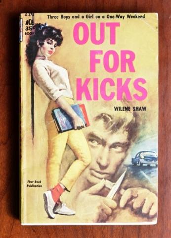 "The pulp fiction offering ""Out for Kicks,"" features ""Three Boys and a Girl on a One-Way Weekend."" It is part of the mass-market paperback collection at the Clark County Museum. ..."