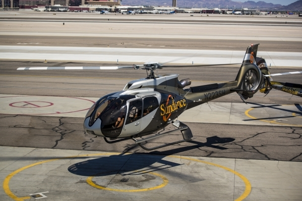 A helicopter lands at Sundance Helicopters in Las Vegas on Wednesday, July 15, 2015. (Joshua Dahl/Las Vegas Review-Journal)