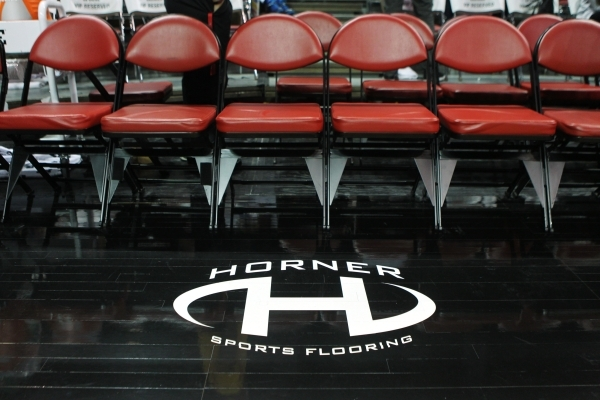 The basketball court flooring installed by Horner Sports Flooring is seen at the Thomas and Mack Center at UNLV in Las Vegas during an NBA Summer League game Wednesday,  July 15, 2015. (Erik Verdu ...