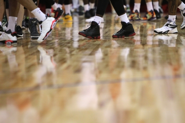 The NBA Summer League basketball court installed by Horner Flooring Co. is seen Wednesday at the Thomas & Mack Center in Las Vegas. Erik Verduzco/Las Vegas Review-Journal