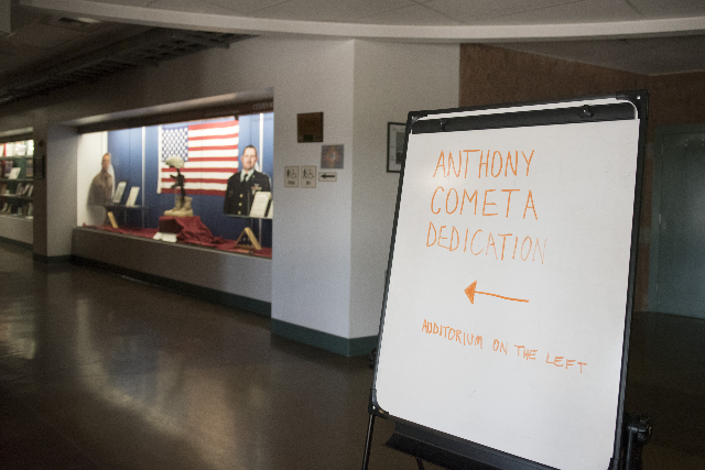 Signage for the Anthony S. Cometa dedication is shown in the lobby at the Nevada Army National Guard Las Vegas Readiness Center/Anthony S. Cometa Complex in Las Vegas, Friday, July 17, 2015. (Jaso ...
