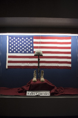 A display commemorating fallen comrades is shown in the lobby at the Nevada Army National Guard Las Vegas Readiness Center/Anthony S. Cometa Complex in Las Vegas Friday, July 17, 2015. (Jason Ogul ...
