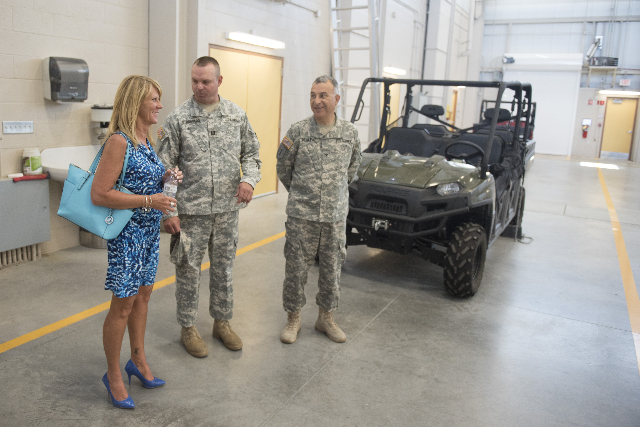 Nancy Cometa-Fontana, left, visits the building named for her late son at the Nevada Army National Guard Las Vegas Readiness Center/Anthony S. Cometa Complex in Las Vegas Friday, July 17, 2015. (J ...