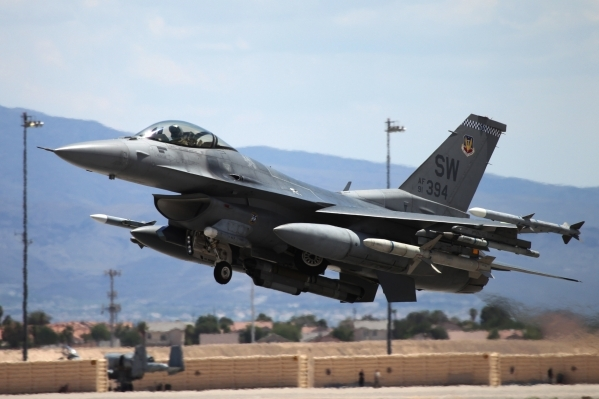 An F-16 Fighting Falcon from Shaw Air Force Base, S.C., head off for a Red Flag exercise at Nellis Air Force Base in Las Vegas Tuesday, July 21, 2015. (Erik Verduzco/Las Vegas Review-Journal) Foll ...