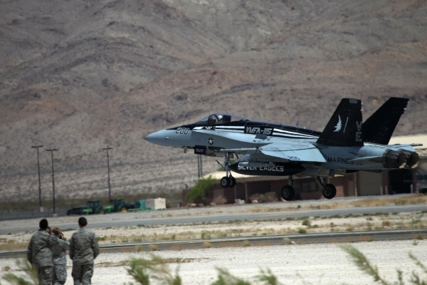 A Marine Corps F/A-18 Hornet from Air Station Beaufort, S.C., takes off during a Red Flag exercise at Nellis Air Force Base in Las Vegas Tuesday, July 21, 2015. (Erik Verduzco/Las Vegas Review-Jou ...