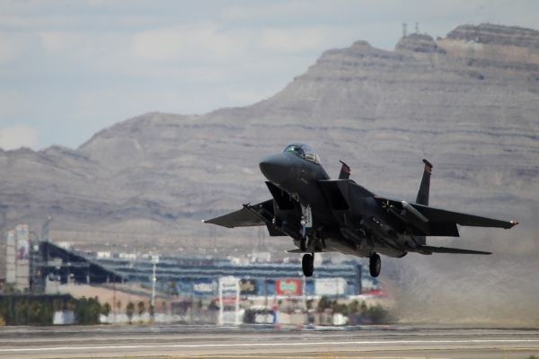 An F-15E Strike Eagle from Mountain Home Air Force Base in Idaho takes off during a Red Flag 15-3 exercise at Nellis Air Force Base on Tuesday. (Erik Verduzco/Las Vegas Review-Journal) Follow Erik ...