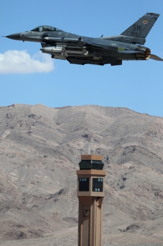 An F-16 Fighting Falcon from Shaw Air Force Base, S.C., heads off for a Red Flag exercise at Nellis Air Force Base in Las Vegas Tuesday, July 21, 2015. (Erik Verduzco/Las Vegas Review-Journal) Fol ...