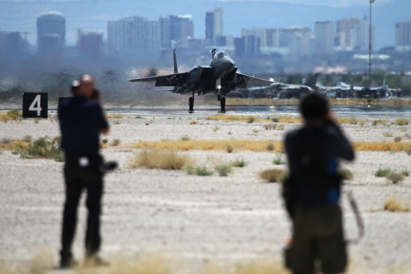 An F-15E Strike Eagle from Mountain Home Air Force Base, Idaho, takes off during a Red Flag exercise at Nellis Air Force Base in Las Vegas Tuesday, July 21, 2015. (Erik Verduzco/Las Vegas Review-J ...