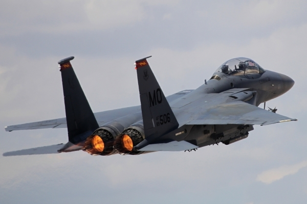 An F-15E Strike Eagle from Mountain Home Air Force Base, Idaho, flies off during a Red Flag exercise at Nellis Air Force Base in Las Vegas Tuesday, July 21, 2015. (Erik Verduzco/Las Vegas Review-J ...