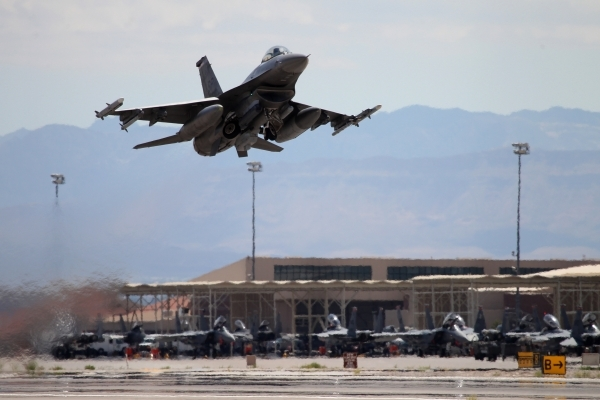 An F-16CM from Spangdahlem Air Base, Germany, heads off for a Red Flag exercise at Nellis Air Force Base in Las Vegas Tuesday, July 21, 2015. (Erik Verduzco/Las Vegas Review-Journal) Follow Erik V ...