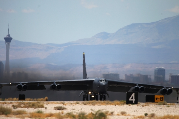 A B-52H from the 69th Bomber Squadron at Minot Air Force Base, N.D., gets ready to launch during a Red Flag exercise at Nellis Air Force Base in Las Vegas Tuesday, July 21, 2015. (Erik Verduzco/La ...