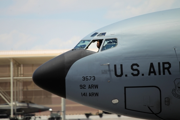 A KC-135 Stratotanker from the U.S. Air Mobility Command gets ready to launch during a Red Flag exercise at Nellis Air Force Base in Las Vegas Tuesday, July 21, 2015. (Erik Verduzco/Las Vegas Revi ...
