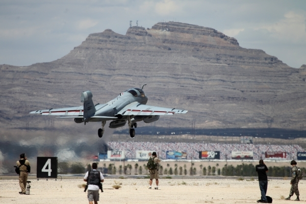 An EA-6B Prowler from Marine Corps Air Station, Cherry Point, N.C., gets ready to launch during a Red Flag exercise at Nellis Air Force Base in Las Vegas Tuesday, July 21, 2015. (Erik Verduzco/Las ...