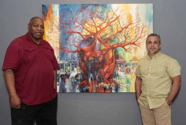 """Artists Harold Bradford, left, and Adolfo Gonzalez -- who met while working for the Young Electric Sign Co. and have been friends for more than 15 years -- team up for """"Thicker Than Blood,&qu ..."""
