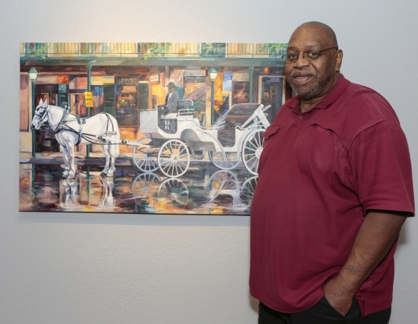 """Artist (and New Orleans native) Harold Bradford , with his painting """"A Tribute to Servitude,"""" which is on display at Left of Center Gallery in the """"Thicker Than Blood"""" show he  ..."""