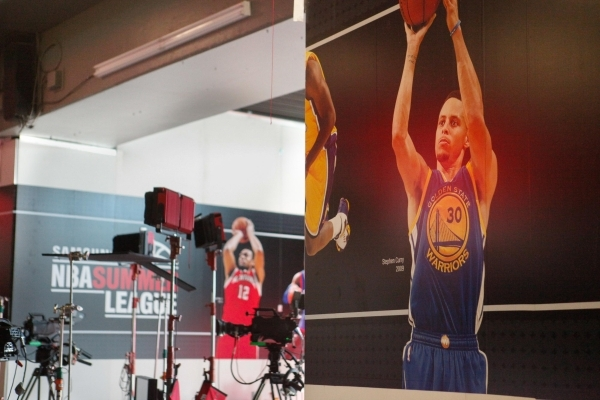 Steph Curry of the Golden State Warriors is one of the more famous basketball players featured on the mural at the Thomas and Mack Center in Las Vegas on Sunday, July 19, 2015. (James Tensuan/Las  ...