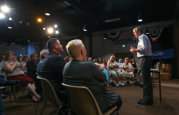Republican presidential candidate Jeb Bush speaks to about 200 people at a town hall meeting in Carson City, Nev., on Friday, July 17, 2015. (Cathleen Allison/Las Vegas Review-Journal)