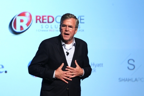 Republican presidential candidate and former Florida Gov. Jeb Bush speaks at Mavericks PAC Conference at the Venetian hotel-casino in Las Vegas on Friday, July 17, 2015. (Chase Stevens/Las Vegas R ...