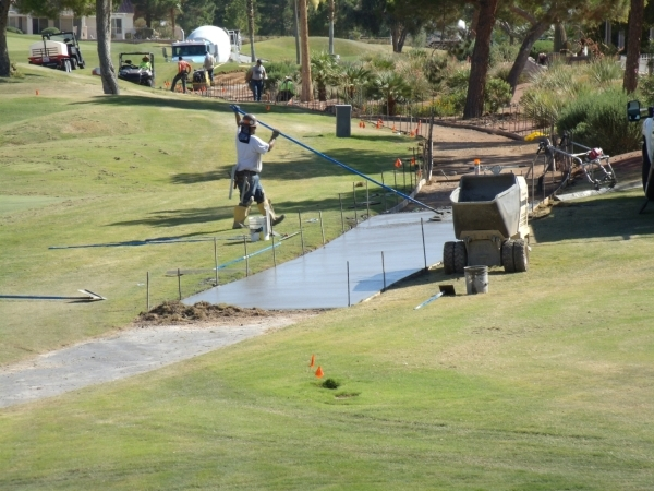 The cart path at Palm Valley Golf Club is undergoing repairs. Maintenance costs for golf courses are shockingly high. (Special to View)
