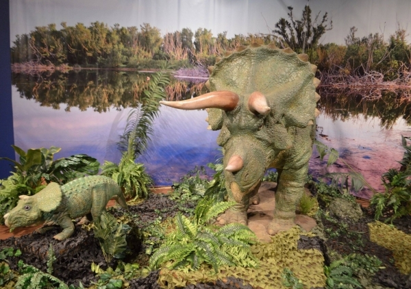 """An animatronic mother and baby triceratops greet visitors to the Springs Preserve's """"Dino Summer"""" exhibit. (Ginger Meurer/Special to View)"""