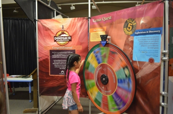 Visitors can spin the wheel and go on a dinosaur genius quest through a trivia maze at the Las Vegas Natural History Museum. (Ginger Meurer/Special to View)