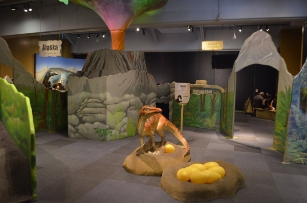"""A troodon protects its eggs and a volcano towers overhead at the """"Dinosaurs: Land of Fire and Ice"""" exhibit at the Discovery Children's Museum. (Ginger Meurer/Special to View)"""