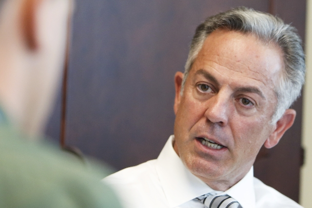 Sheriff Joe Lombardo speaks during an interview with Review-Journal at his office at Las Vegas police headquarters on Monday, July 20, 2015. (Bizuayehu Tesfaye/Las Vegas Review-Journal) Follow on  ...