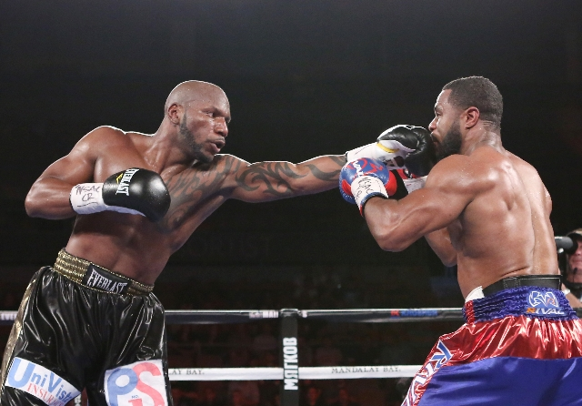 Yuniesky Gonzalez of Cuba, left, connects a left punch agains Jean Pascal of Canada during their light heavyweights title match on Saturday, July 25, 2015 at Mandalay Bay hotel-casino. Pascal won  ...