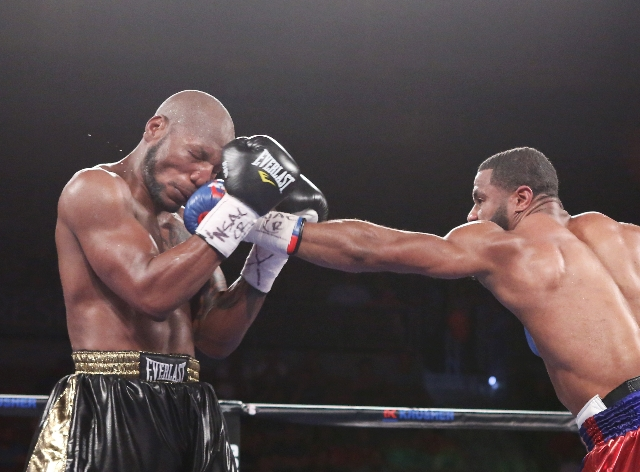 Jean Pascal of Canada, right, connects a left punch against Yuniesky Gonzalez of Cuba during their light heavyweights title match on Saturday, July 25, 2015 at Mandalay Bay hotel-casino. Pascal wo ...