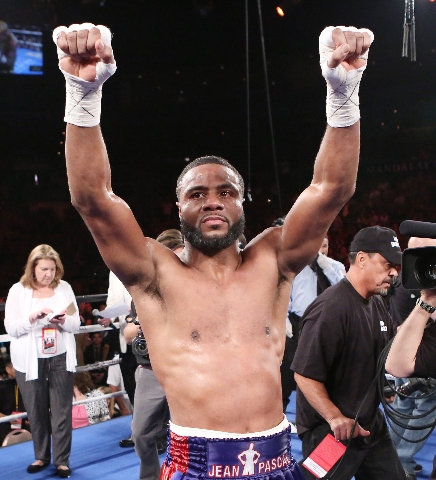 Jean Pascal of Canada celebrates his win against Yuniesky Gonzalez of Cuba during their light heavyweights title match on Saturday, July 25, 2015 at Mandalay Bay hotel-casino. Pascal won by unanim ...
