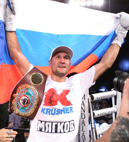 Light heavyweight champ Sergey Kovalev of Russia celebrates his third round knockout win against Nadjib Mohammedi of France during their IBF light heavyweight title bout on Saturday, July 25, 2015 ...