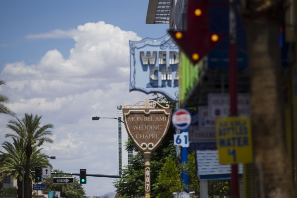 The sign for Mon Bel Ami Wedding Chapel, 607 S. Las Vegas Blvd., is seen on Tuesday, July 21, 2015, in downtown Las Vegas. Clark County commissioners on Tuesday approved raising the marriage licen ...