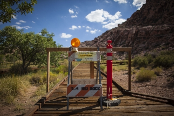 A blocked off portion of the boardwalk is seen at the Red Springs picnic area in the Red Rock Canyon National Conservation Area on Tuesday, July 21, 2015. A portion of the boardwalk is closed off  ...