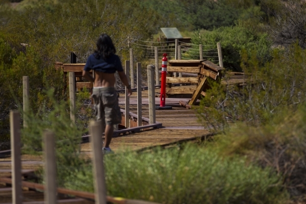 A man approaches a damaged area of the boardwalk in a portion blocked off to the public at the Red Springs picnic area in the Red Rock Canyon National Conservation Area on Tuesday, July 21, 2015.  ...