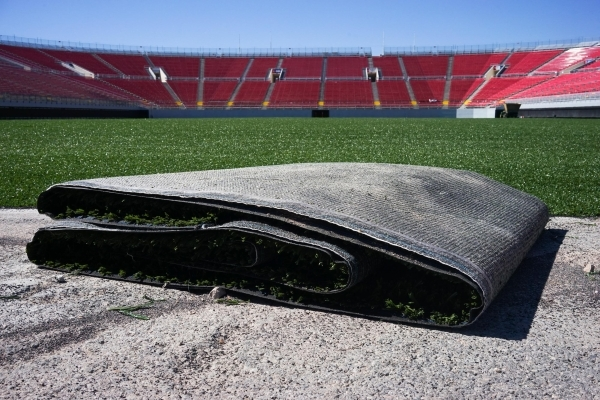 Strips of a new artificial turf are ready to be put down at Sam Boyd Stadium on Thursday. JAMES TENSUAN/LAS VEGAS REVIEW-JOURNAL / FOLLOW HIM